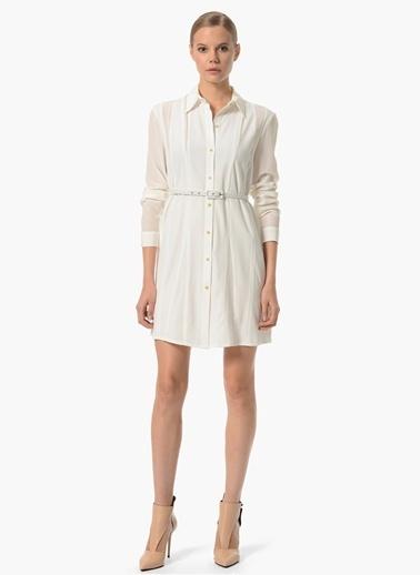 NetWork Gömlek Detaylı Şifon Elbise Ekru